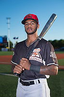 Salem-Keizer Volcanoes outfielder Christopher Burks (26) poses for a photo before a Northwest League game against the Hillsboro Hops at Ron Tonkin Field on September 1, 2018 in Hillsboro, Oregon. The Salem-Keizer Volcanoes defeated the Hillsboro Hops by a score of 3-1. (Zachary Lucy/Four Seam Images)
