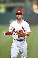 ***Temporary Unedited Reference File***Memphis Redbirds shortstop Greg Garcia (5) during a game against the Omaha Storm Chasers on May 5, 2016 at AutoZone Park in Memphis, Tennessee.  Omaha defeated Memphis 5-3.  (Mike Janes/Four Seam Images)