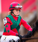 BALTIMORE, MD - MAY 21: Kali Francois, aboard Peace Prize #2, during the post parade before the Gallorette Handicap at Pimlico Race Course on May 21, 2016 in Baltimore, Maryland. (Photo by Douglas DeFelice/Eclipse Sportswire/Getty Images)