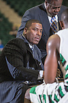 North Texas Mean Green head coach Tony Benford in action during the game between the Stephen F. Austin Lumberjacks and the North Texas Mean Green at the Super Pit arena in Denton, Texas. SFA defeats UNT 87 to 53.