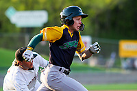 Beloit Snappers shortstop Nick Allen (2) runs to first base during a Midwest League game against the Wisconsin Timber Rattlers on May 17, 2018 at Fox Cities Stadium in Appleton, Wisconsin. Beloit defeated Wisconsin 8-7. (Brad Krause/Four Seam Images)
