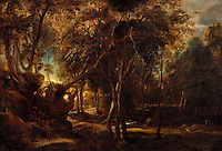 A Forest at Dawn with a Deer Hunt - by Peter Paul Rubens, 1635