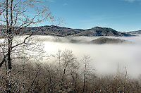Fog lingers around the mountain base in the North Carolina mountains near Banner Elk (Elk Park, NC).