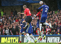 Antonio Rudiger of Chelsea heads the ball out of defence during Chelsea vs Southampton, Premier League Football at Stamford Bridge on 2nd October 2021