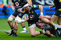 27th March 2021; Ricoh Arena, Coventry, West Midlands, England; English Premiership Rugby, Wasps versus Sale Sharks; Michael Le Bourgeois of Wasps is brought down