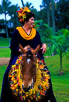 Woman riding horse (pau rider) with leis at Merrie Monarch festival parade