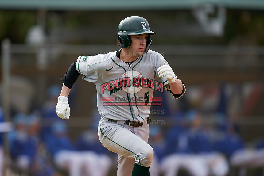 Dartmouth Big Green Justin Murray (5) runs to first base during a game against the Indiana State Sycamores on February 21, 2020 at North Charlotte Regional Park in Port Charlotte, Florida.  Indiana State defeated Dartmouth 1-0.  (Mike Janes/Four Seam Images)