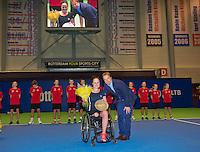 December 21, 2014, Rotterdam, Topsport Centrum, Lotto NK Tennis, Lady's wheelchair final, Winner Aniek van Koot    with KNLTB director Erik Poel <br /> Photo: Tennisimages/Henk Koster