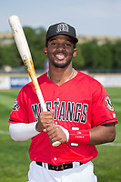 Billings Mustangs outfielder J.D. Salmon-Williams (8) poses for a photo prior to the game against the Missoula Osprey at Dehler Park on August 20, 2017 in Billings, Montana.  The Osprey defeated the Mustangs 6-4.  (Brian Westerholt/Four Seam Images)