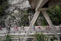 Maglia Rosa / overall leader Richard Carapaz (ECU/Movistar) under the bridge<br /> <br /> Stage 18: Valdaora/Olang to Santa Maria di Sala (222km)<br /> 102nd Giro d'Italia 2019<br /> <br /> ©kramon