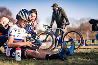 cx world champion Ceylin del Carmen Alvarado (NED/Alpecin-Fenix) catching her breath after having won the European title<br />