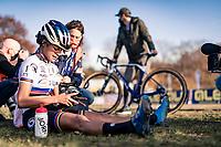 cx world champion Ceylin del Carmen Alvarado (NED/Alpecin-Fenix) catching her breath after having won the European title<br /> <br /> UEC Cyclocross European Championships 2020 - 's-Hertogenbosch (NED)<br /> <br /> Elite Women's Race<br /> <br /> ©kramon