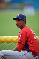 Williamsport Crosscutters pitcher Randy Alcantara (39) before a game against the Batavia Muckdogs on August 19, 2017 at Dwyer Stadium in Batavia, New York.  Batavia defeated Williamsport 11-1 in five innings due to rain.  (Mike Janes/Four Seam Images)