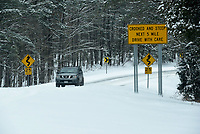 PROCEED WITH CAUTION<br />A motorist travels Arkansas 12 Wedenesday Feb. 17 2021 in east Benton County. Some 4 inches or more of snow fell Tuesday night and early Wednesday in the region. Go to nwaonline.com/210218Daily/ to see more photos.<br />(NWA Democrat-Gazette/Flip Putthoff)