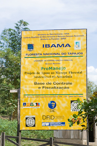 Para State, Brazil. Ministry of the environment, Ibama sign for Sustainable  Forest Management for the Tapajos river National Forest, supported by DFID,  World Bank, PPG7  KfW, GTZ.