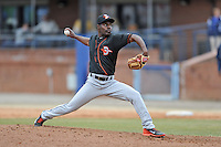 Delmarva Shorebirds pitcher David Richardson #31 delivers a pitch during a game against the  Asheville Tourists at McCormick Field on April 6, 2014 in Asheville, North Carolina. The Shorebirds defeated the Tourists 4-2. (Tony Farlow/Four Seam Images)