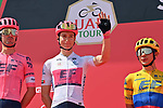 Neilson Powless (USA) EF Education-Nippo wearing the White Jersey at sign on before the start of Stage 3 of the 2021 UAE Tour running 166km from Al Ain to Jebel Hafeet, Abu Dhabi, UAE. 23rd February 2021.  <br /> Picture: LaPresse/Gian Mattia D'Alberto | Cyclefile<br /> <br /> All photos usage must carry mandatory copyright credit (© Cyclefile | LaPresse/Gian Mattia D'Alberto)