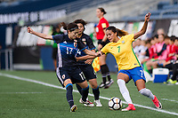 Seattle, WA - Thursday July 27, 2017:   Yui Hasegawa and Gabi Nunes during a 2017 Tournament of Nations match between the women's national teams of the Japan (JAP) and Brazil (BRA) at CenturyLink Field.