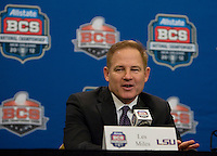 LSU Head Coach Les Miles smiles while talking with the reporters during BCS National Championship Head Coaches Press Conference at Marriott Hotel at the Convention Center at New Orleans, Louisiana on January 8th, 2012.