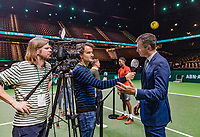 Rotterdam, The Netherlands, 17 Februari 2019, ABNAMRO World Tennis Tournament, Ahoy,   Tournament director Richard Krajicek is being interviewed by Jan Willem de Lange.<br /> Photo: www.tennisimages.com/Henk Koster