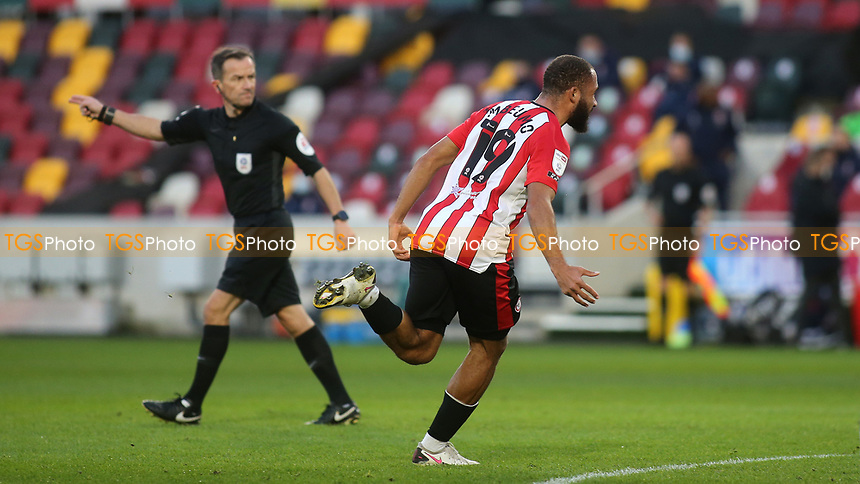 Bryan Mbeumo celebrates scoring Brentford's second goal during Brentford vs Reading, Sky Bet EFL Championship Football at the Brentford Community Stadium on 19th December 2020