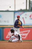 Binghamton Rumble Ponies second baseman Luis Carpio (21) throws to first base as Jalen Miller (1) slides in during an Eastern League game against the Richmond Flying Squirrels on May 29, 2019 at The Diamond in Richmond, Virginia.  Binghamton defeated Richmond 9-5 in ten innings.  (Mike Janes/Four Seam Images)