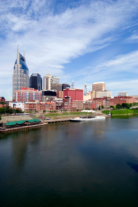 Nashville, Tennessee skyline with the Cumberland River in the foreground.