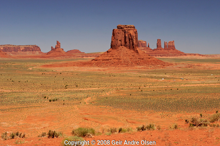 View of buttes and dessert of Monument Valley, Arizone, USA