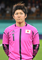 August 03, 2012 - Japan's Miho Fukumoto during the singing of National Antherm before Group F match between JPN and BRA at the Millennium Stadium. .