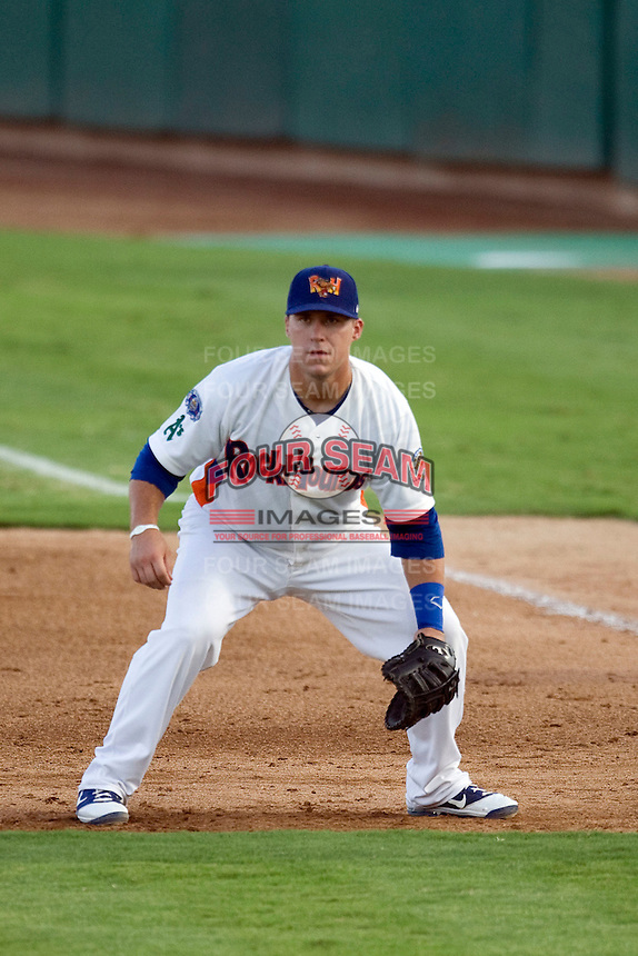 Midland Rockhounds first baseman Michael Spina #18 plays defense during the Texas League All Star Game played on June 29, 2011 at Nelson Wolff Stadium in San Antonio, Texas. The South defeated the North 3-2 in the contest. (Andrew Woolley / Four Seam Images)