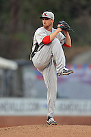 Hickory Crawdads starting pitcher Sam Stafford #24 delivers a pitch during a game between the Hickory Crawdads and the Asheville Tourists at McCormick Field on April 17, 2013 in Asheville, North Carolina. The Crawdads won the game 6-5. (Tony Farlow/Four Seam Images).