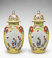 BNPS.co.uk (01202 558833)<br /> Pic: Sotheby's/BNPS<br /> <br /> Pictured: A pair of Meissen Augustus Rex yellow-ground baluster has sold for £502,000.<br /> <br /> A stunning collection of German porcelain that was found by the so-called Monuments Men before it could be destroyed by the Nazis has sold 76 years later for over £10m.<br /> <br /> The hoard of Meissen antiques that was seized by the Third Reich during the Second World War was discovered in a salt mine in Austria in 1945.<br /> <br /> It had been amassed years earlier by German-Jewish industrialist Dr Franz Oppenheimer and his wife Margarethe.