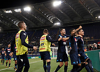 Calcio, Serie A: Roma, stadio Olimpico, 20 settembre 2017.<br /> Napoli's José Maria Callejon (r) celebrates after scoring  with his teammates during the Italian Serie A football match between Lazio and Napoli at Rome's Olympic stadium, September 20, 2017.<br /> UPDATE IMAGES PRESS/Isabella Bonotto