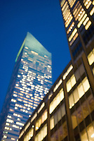 Soft Focus/defocussed view of illuminated office buildings in Midtown Manhattan, dusk, upward view,  Citigroup Center (formerly Citicorp Center) on the left....Midtown Manhattan, New York City, New York State, USA
