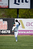 Beloit Snappers left fielder Luke Persico (8) settles under a fly ball during a game against the Bowling Green Hot Rods on May 7, 2017 at Pohlman Field in Beloit, Wisconsin.  Bowling Green defeated Beloit 6-2.  (Mike Janes/Four Seam Images)