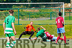 Evan Looney Killarney Celtic gets to the ball ahead of Mervue defender Mark Cunningham to score Killarney Celtic's first goal against Mervue United in the FAI Youth Cup final in Celtic Park on Saturday