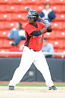 Hickory Crawdads Odubel Herrera #2 waits on a pitch during a game vs. the Hickory Crawdads at L.P. Franz Stadium in Hickory,  North Carolina;  April 7, 2011.  Hickory defeated Asheville 4-2.  Photo By Tony Farlow/Four Seam Images