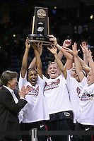 31 March 2008: Candice Wiggins and Jayne Appel hoist the regional championship trophy after Stanford's 98-87 win over the University of Maryland in the elite eight game of the NCAA Division 1 Women's Basketball Championship in Spokane, WA. Also pictured are Tara VanDerveer, Ashley Cimino, Rosalyn Gold-Onwude and JJ Hones.
