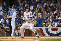 Chicago Cubs Kris Bryant (17) bats in the first inning during Game 4 of the Major League Baseball World Series against the Cleveland Indians on October 29, 2016 at Wrigley Field in Chicago, Illinois.  (Mike Janes/Four Seam Images)
