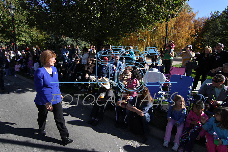 U.S. Senate candidate Sharron Angle walks down Carson Street during the Nevada Day parade in Carson City, Nev., on Saturday, Oct. 30, 2010..Photo by Cathleen Allison
