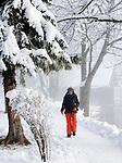 Germany, Bavaria, Upper Bavaria, Winter in Werdenfelser Land: winter scenery at Kochel Lake - woman hiking