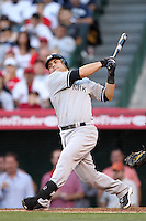 New York Yankees catcher Russell Martin #55 bats against the Los Angeles Angels at Angel Stadium on June 4, 2011 in Anaheim,California. Larry Goren/Four Seam Images