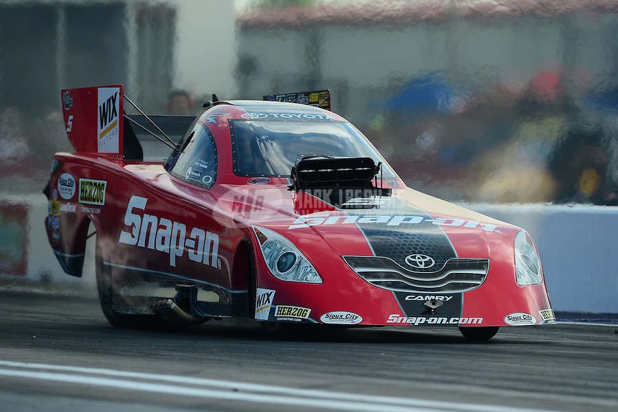 Apr. 27, 2012; Baytown, TX, USA: NHRA funny car driver Cruz Pedregon during qualifying for the Spring Nationals at Royal Purple Raceway. Mandatory Credit: Mark J. Rebilas-