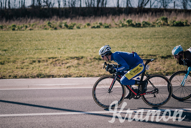 Piet Allegaert (BEL/Sport Vlaanderen-Baloise) tucked for speed<br /> <br /> 70th Kuurne-Brussel-Kuurne 2018<br /> Kuurne › Kuurne: 200km (BELGIUM)