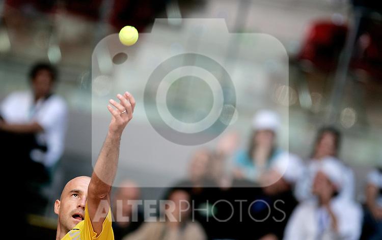 Croatia's Ivan Ljubicic during his Madrid Open quarter final match. May 15, 2009. (ALTERPHOTOS/Alvaro Hernandez)