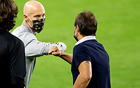 LOS ANGELES, CA - SEPTEMBER 02: Head coaches of LAFC Bob Bradley, and Matias Almeyda of the San Jose earthquakes bump one another during a game between San Jose Earthquakes and Los Angeles FC at Banc of California stadium on September 02, 2020 in Los Angeles, California.