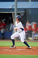 GCL Rays center fielder Jake Stone (8) flies out during the second game of a doubleheader against the GCL Twins on July 18, 2017 at Charlotte Sports Park in Port Charlotte, Florida.  GCL Twins defeated the GCL Rays 4-2 after the game was postponed in the second inning to the following day at Charlotte Sports Park in Port Charlotte, Florida.  (Mike Janes/Four Seam Images)
