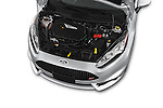 Car Stock 2015 Ford Fiesta St MT 2Wd 5 Door Hatchback 2WD Engine high angle detail view