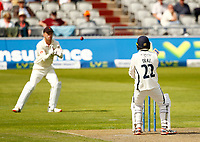 27th May 2021; Emirates Old Trafford, Manchester, Lancashire, England; County Championship Cricket, Lancashire versus Yorkshire, Day 1; Harry Dukeof Yorkshire miscues his hook off Tom Bailey and sees the ball fall into the hands of Lancashire keeper Dane Vilas, to see him dismissed for 52