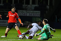 4th May 2021; Kenilworth Road, Luton, Bedfordshire, England; English Football League Championship Football, Luton Town versus Rotherham United; Sonny Bradley of Luton Town prevents Freddie Ladapo of Rotherham United from having a shot on goal